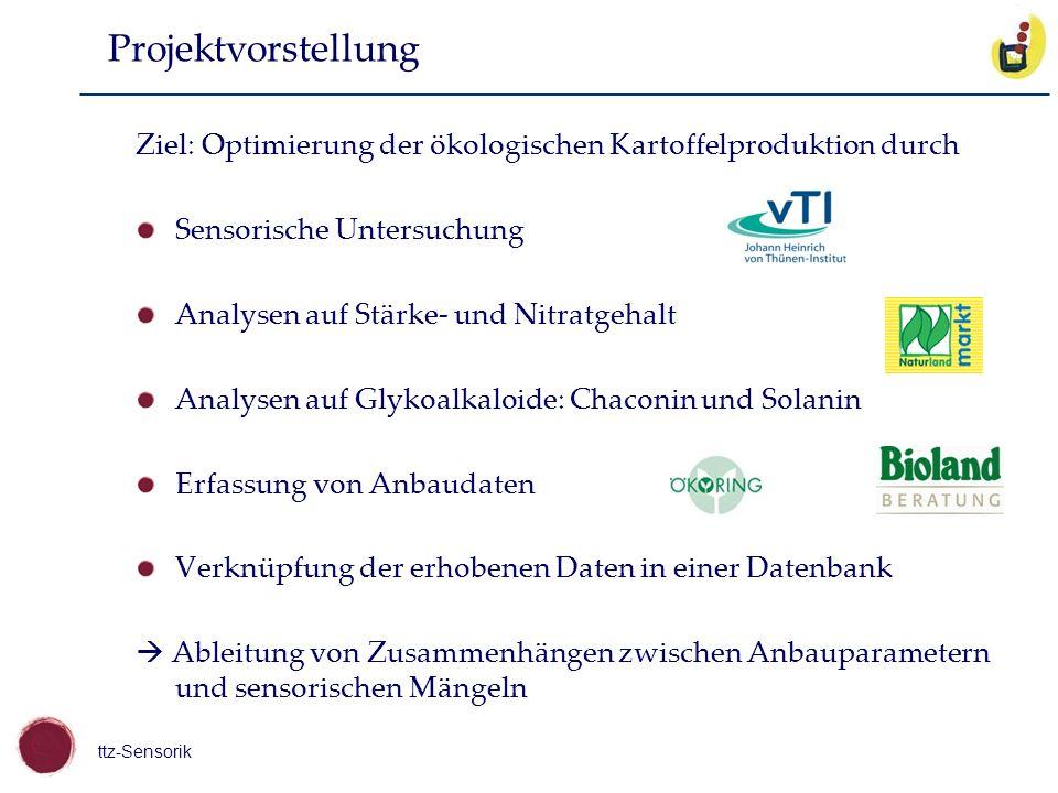 ttz-Sensorik Projektvorstellung Ziel: Optimierung der ökologischen Kartoffelproduktion durch Sensorische Untersuchung Analysen auf Stärke- und Nitratg