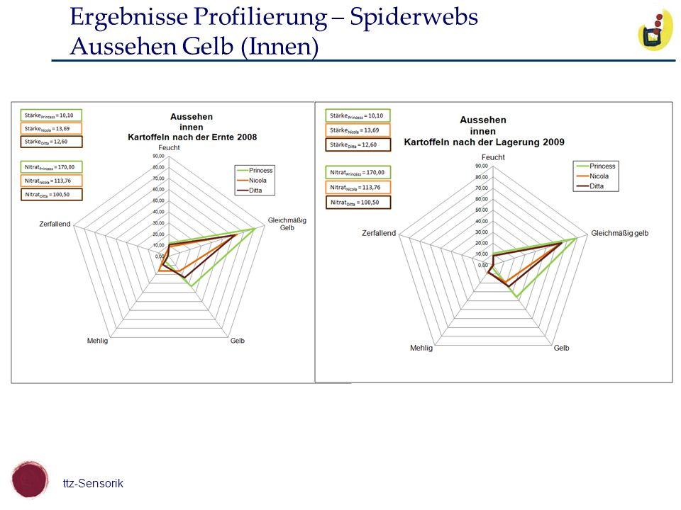 ttz-Sensorik Ergebnisse Profilierung – Spiderwebs Aussehen Gelb (Innen)