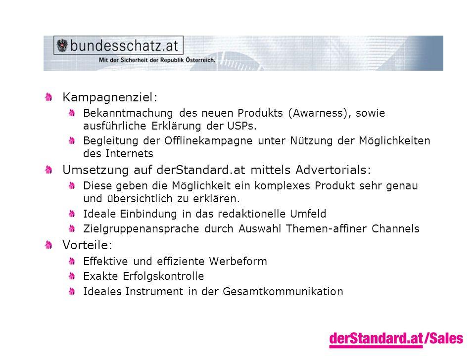 Kampagnenziel: Bekanntmachung des neuen Produkts (Awarness), sowie ausführliche Erklärung der USPs.