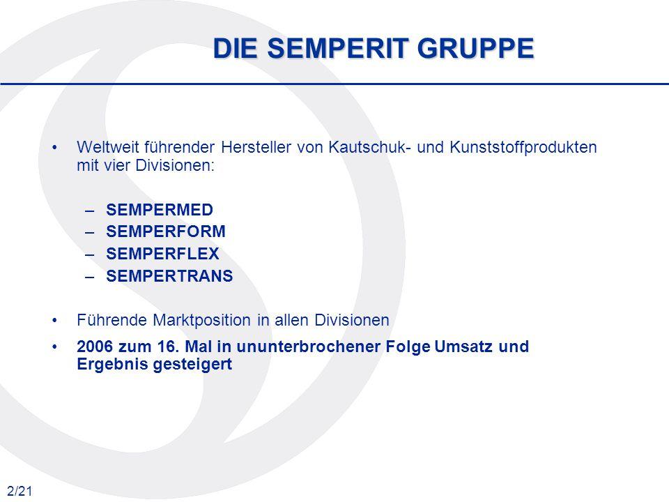 2/21 DIE SEMPERIT GRUPPE Weltweit führender Hersteller von Kautschuk- und Kunststoffprodukten mit vier Divisionen: –SEMPERMED –SEMPERFORM –SEMPERFLEX
