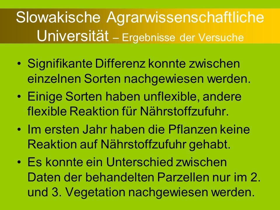 Slowakische Agrarwissenschaftliche Universität – Ergebnisse der Versuche Signifikante Differenz konnte zwischen einzelnen Sorten nachgewiesen werden.