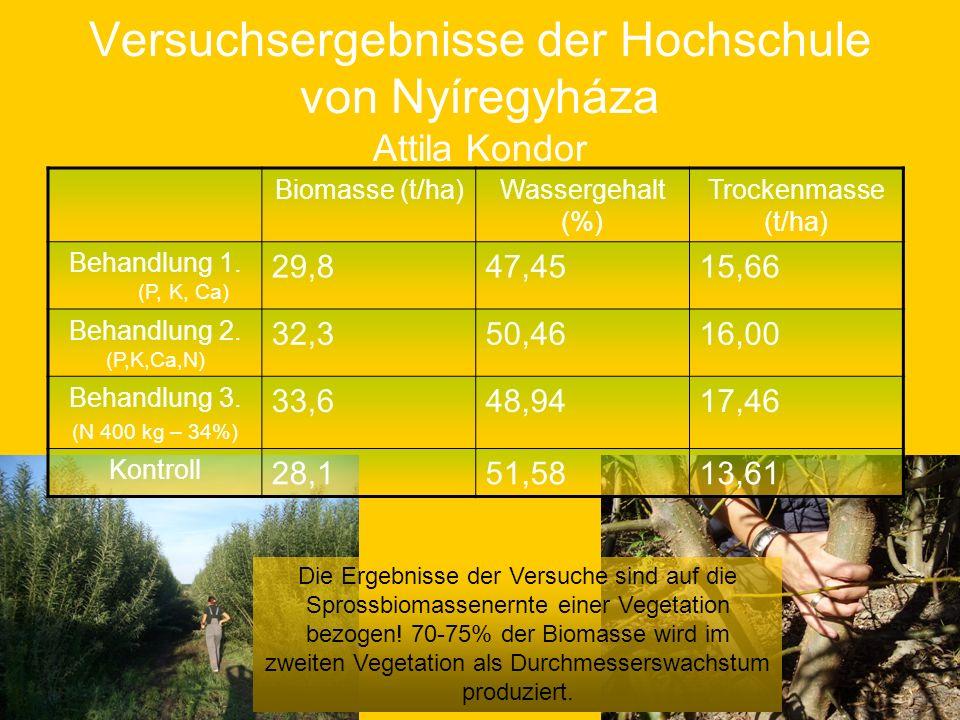 Versuchsergebnisse der Hochschule von Nyíregyháza Attila Kondor Biomasse (t/ha)Wassergehalt (%) Trockenmasse (t/ha) Behandlung 1. (P, K, Ca) 29,847,45