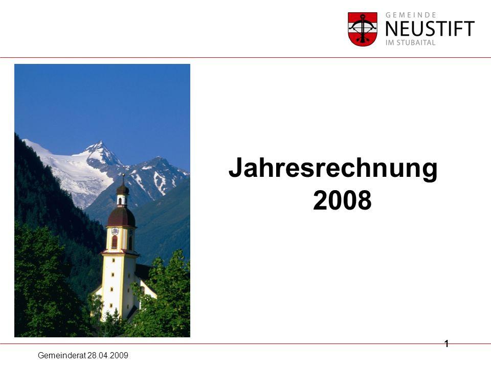 Gemeinderat 28.04.2009 12 Jahresrechnung 2008 Beteiligungen: Hochstubailift 1.679.896,46 Stubaier Gletscherstraßen Ges.