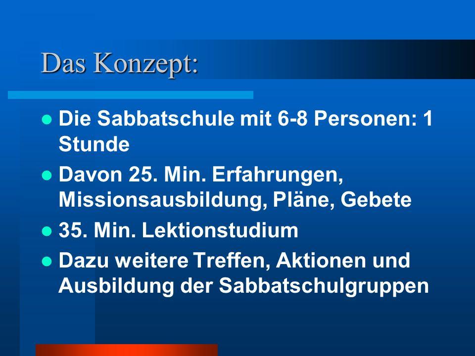 Das Konzept: Die Sabbatschule mit 6-8 Personen: 1 Stunde Davon 25. Min. Erfahrungen, Missionsausbildung, Pläne, Gebete 35. Min. Lektionstudium Dazu we