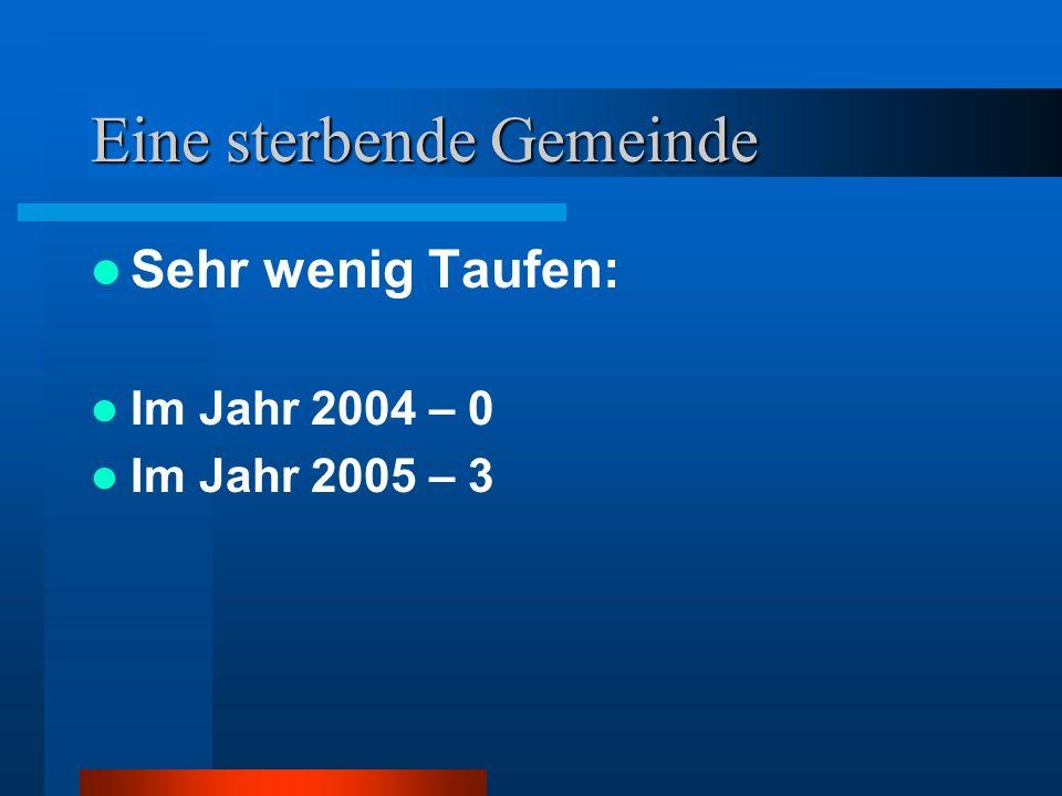 Eine sterbende Gemeinde Sehr wenig Taufen: Im Jahr 2004 – 0 Im Jahr 2005 – 3