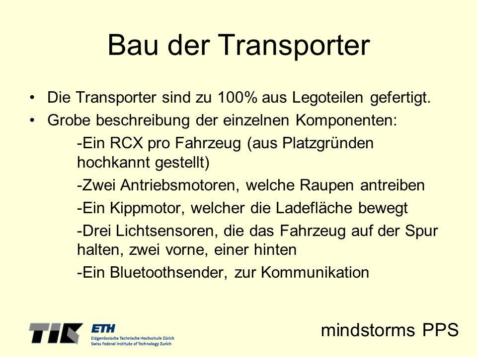 mindstorms PPS Bau der Transporter Die Transporter sind zu 100% aus Legoteilen gefertigt. Grobe beschreibung der einzelnen Komponenten: -Ein RCX pro F