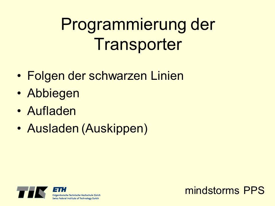 mindstorms PPS Programmierung der Transporter Folgen der schwarzen Linien Abbiegen Aufladen Ausladen (Auskippen)