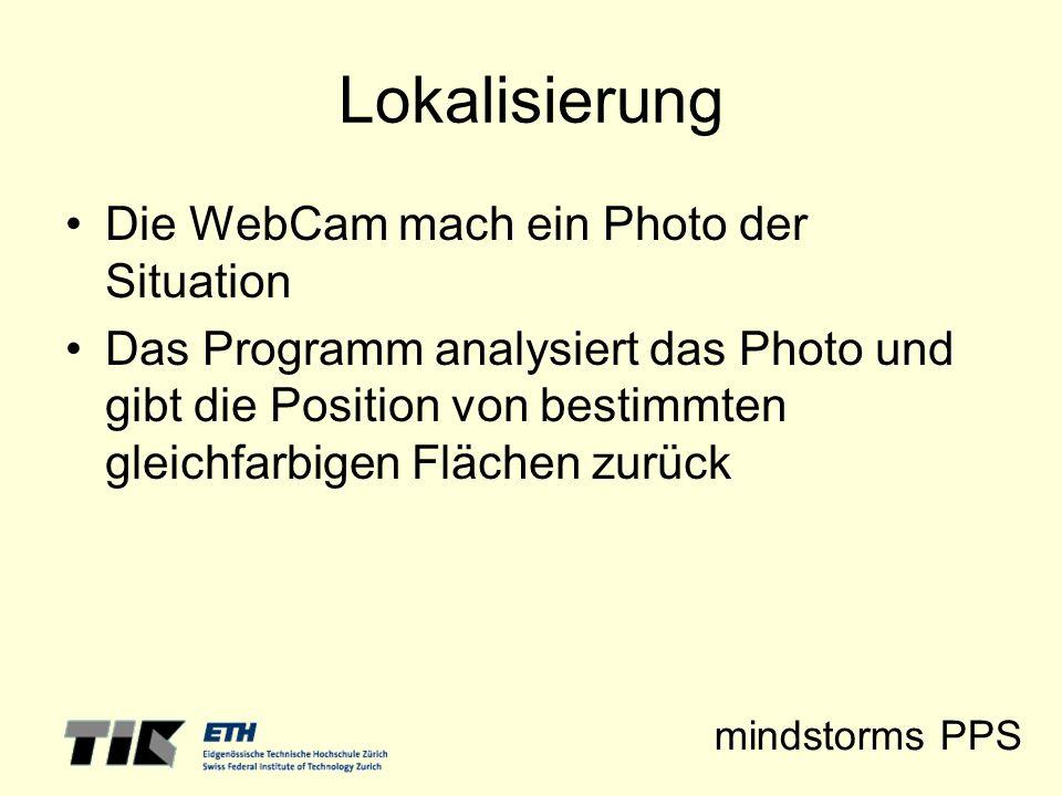 mindstorms PPS Lokalisierung Die WebCam mach ein Photo der Situation Das Programm analysiert das Photo und gibt die Position von bestimmten gleichfarb