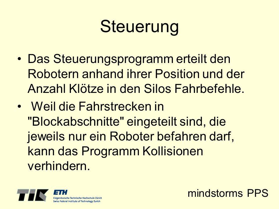 mindstorms PPS Steuerung Das Steuerungsprogramm erteilt den Robotern anhand ihrer Position und der Anzahl Klötze in den Silos Fahrbefehle. Weil die Fa