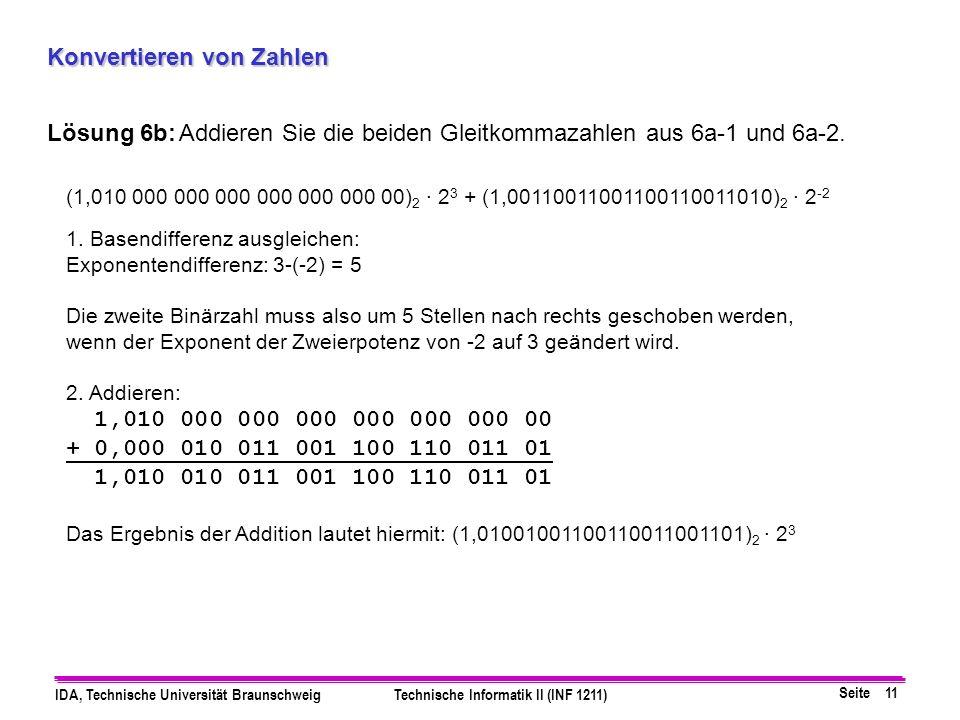 Seite 11 IDA, Technische Universität BraunschweigTechnische Informatik II (INF 1211) Konvertieren von Zahlen Lösung 6b:Addieren Sie die beiden Gleitko
