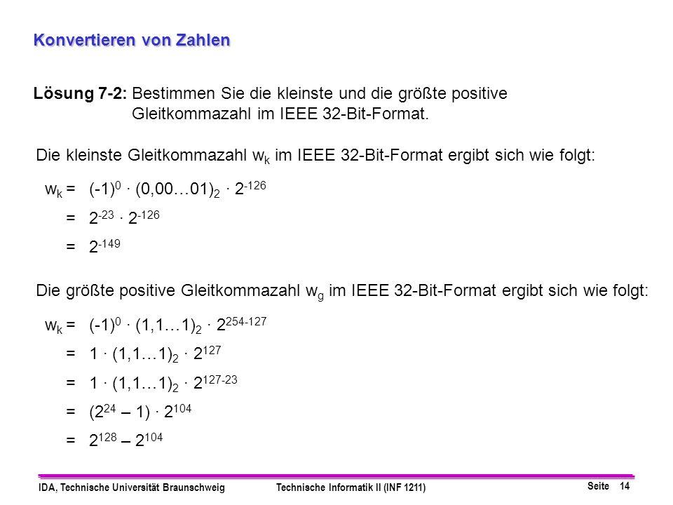 Seite 14 IDA, Technische Universität BraunschweigTechnische Informatik II (INF 1211) Konvertieren von Zahlen Lösung 7-2:Bestimmen Sie die kleinste und