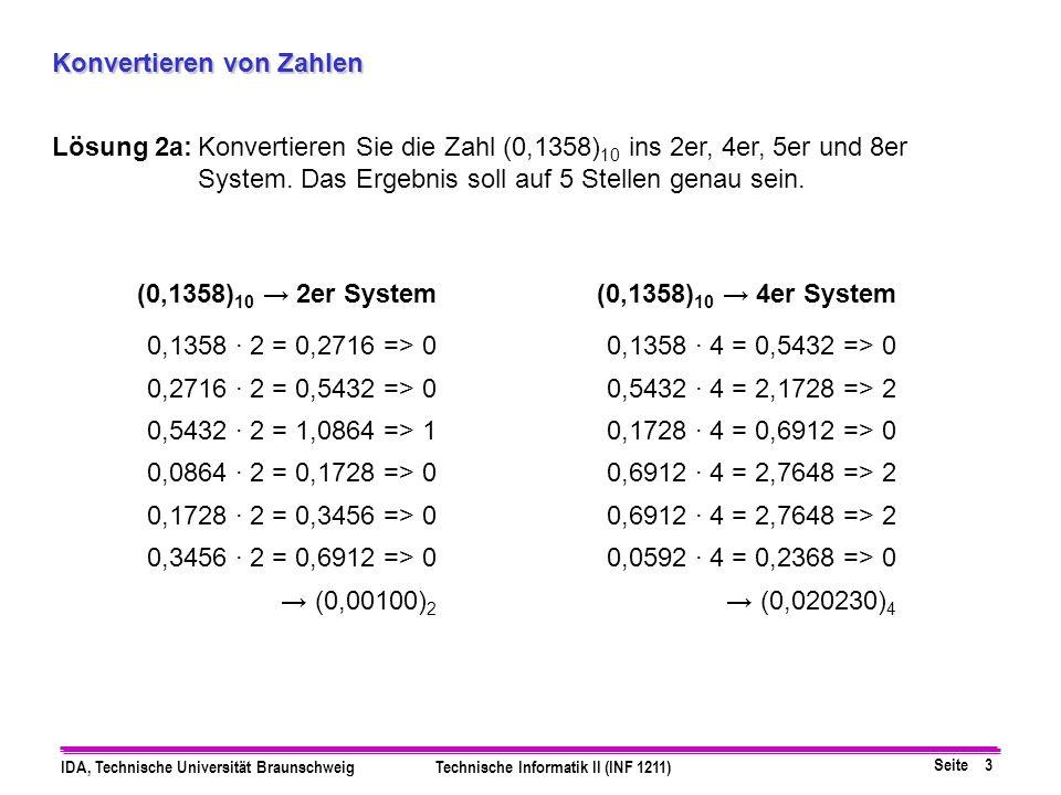 Seite 4 IDA, Technische Universität BraunschweigTechnische Informatik II (INF 1211) Konvertieren von Zahlen Lösung 2b:Konvertieren Sie die Zahl (0,1358) 10 ins 2er, 4er, 5er und 8er System.