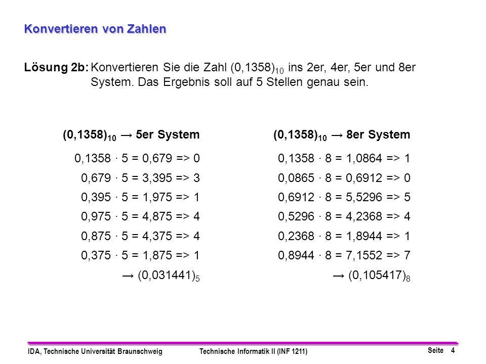 Seite 5 IDA, Technische Universität BraunschweigTechnische Informatik II (INF 1211) Konvertieren von Zahlen Lösung 3:Konvertieren Sie die Zahl 468,2 in die Festkommadarstellung zur Basis 2 mit 9 Vorkomma- und 6 Nachkommastellen.