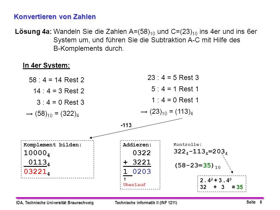 Seite 7 IDA, Technische Universität BraunschweigTechnische Informatik II (INF 1211) Konvertieren von Zahlen Lösung 4b:Wandeln Sie die Zahlen A=(58) 10 und C=(23) 10 ins 4er und ins 6er System um, und führen Sie die Subtraktion A-C mit Hilfe des B-Komplements durch.