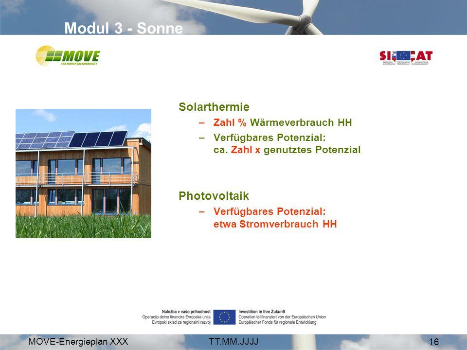 MOVE-Energieplan XXXTT.MM.JJJJ 16 Modul 3 - Sonne Solarthermie –Zahl % Wärmeverbrauch HH –Verfügbares Potenzial: ca. Zahl x genutztes Potenzial Photov