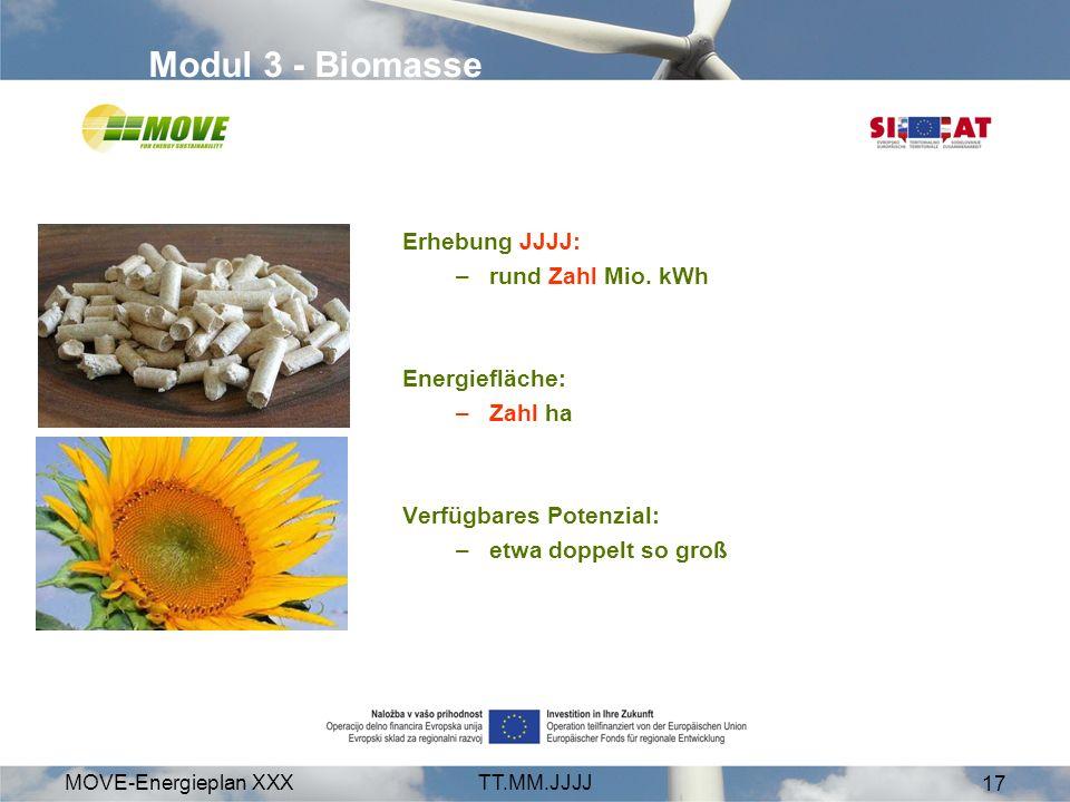 MOVE-Energieplan XXXTT.MM.JJJJ 17 Modul 3 - Biomasse Erhebung JJJJ: –rund Zahl Mio. kWh Energiefläche: –Zahl ha Verfügbares Potenzial: –etwa doppelt s