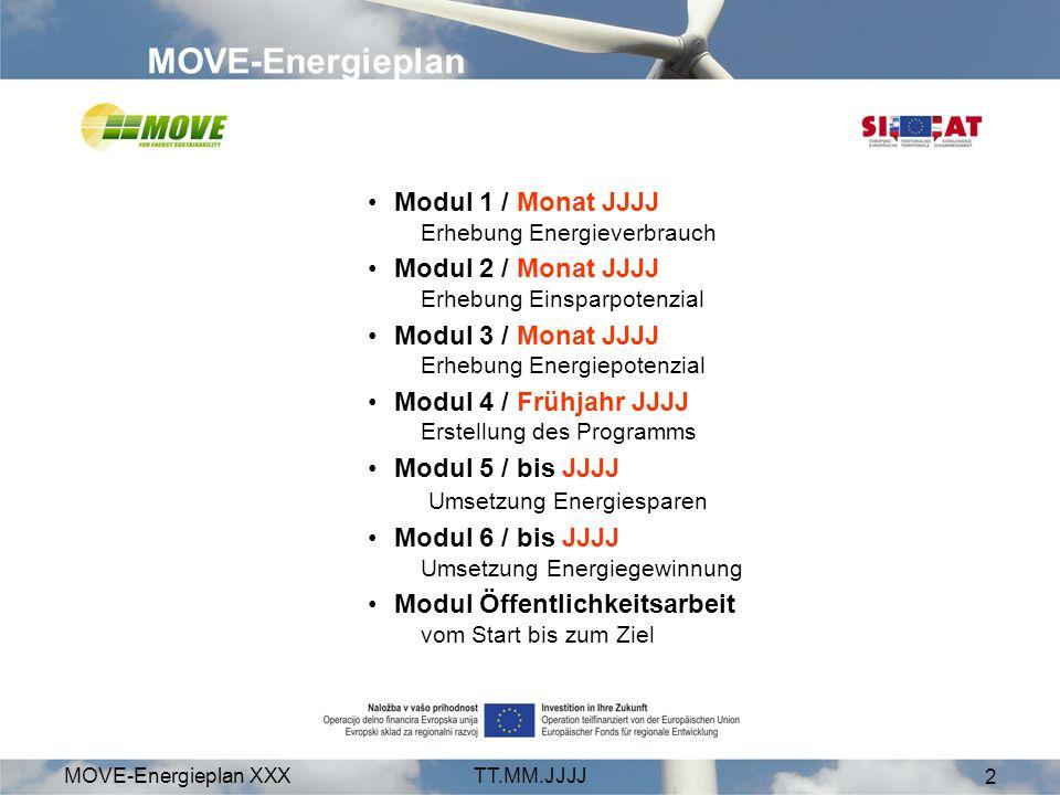 MOVE-Energieplan XXXTT.MM.JJJJ 2 MOVE-Energieplan Modul 1 / Monat JJJJ Erhebung Energieverbrauch Modul 2 / Monat JJJJ Erhebung Einsparpotenzial Modul