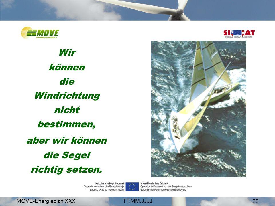 MOVE-Energieplan XXXTT.MM.JJJJ 20 Wir können die Windrichtung nicht bestimmen, aber wir können die Segel richtig setzen.