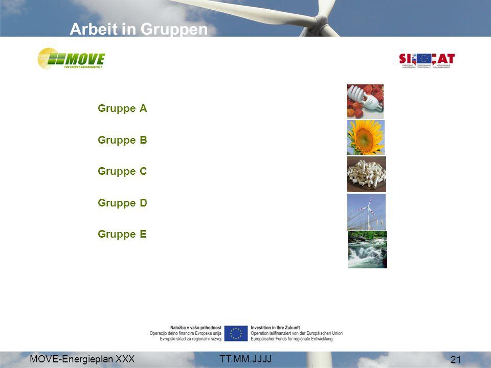 MOVE-Energieplan XXXTT.MM.JJJJ 21 Arbeit in Gruppen Gruppe A Gruppe B Gruppe C Gruppe D Gruppe E