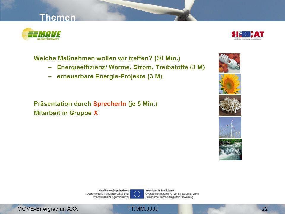 MOVE-Energieplan XXXTT.MM.JJJJ 22 Themen Welche Maßnahmen wollen wir treffen? (30 Min.) –Energieeffizienz/ Wärme, Strom, Treibstoffe (3 M) –erneuerbar