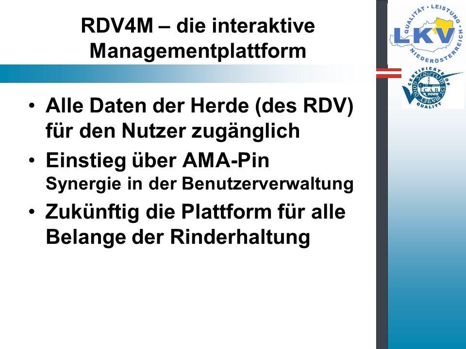 RDV4M – die interaktive Managementplattform Alle Daten der Herde (des RDV) für den Nutzer zugänglich Einstieg über AMA-Pin Synergie in der Benutzerverwaltung Zukünftig die Plattform für alle Belange der Rinderhaltung