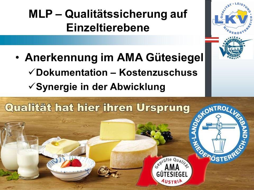 MLP – Qualitätssicherung auf Einzeltierebene Anerkennung im AMA Gütesiegel Dokumentation – Kostenzuschuss Synergie in der Abwicklung