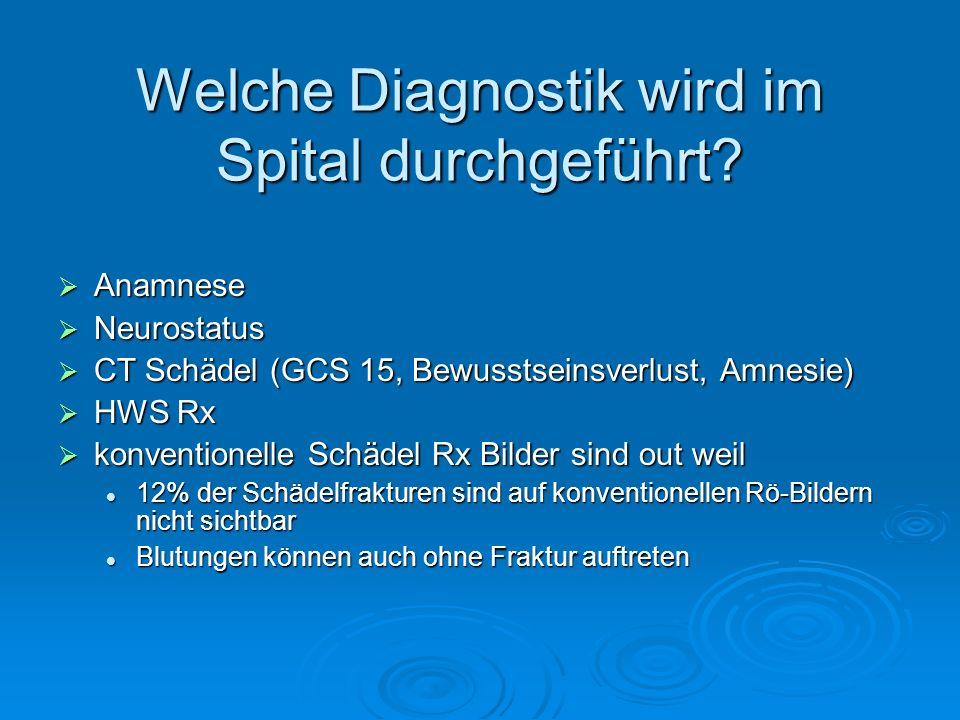 Welche Diagnostik wird im Spital durchgeführt? Anamnese Anamnese Neurostatus Neurostatus CT Schädel (GCS 15, Bewusstseinsverlust, Amnesie) CT Schädel
