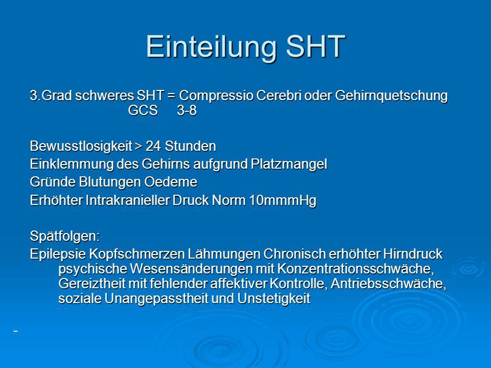 - Einteilung SHT 3.Grad schweres SHT = Compressio Cerebri oder Gehirnquetschung GCS3-8 Bewusstlosigkeit > 24 Stunden Einklemmung des Gehirns aufgrund