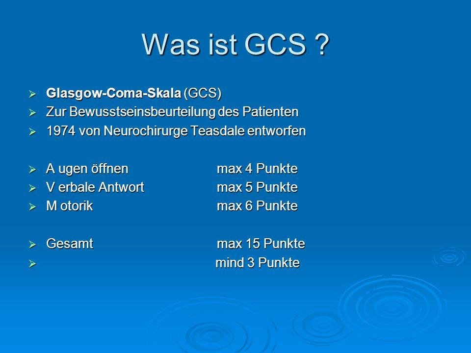 Was ist GCS ? Glasgow-Coma-Skala (GCS) Glasgow-Coma-Skala (GCS) Zur Bewusstseinsbeurteilung des Patienten Zur Bewusstseinsbeurteilung des Patienten 19