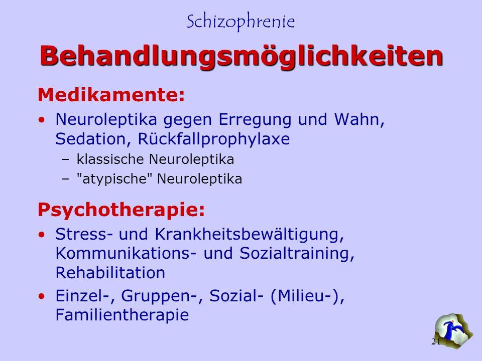 Schizophrenie 21 Behandlungsmöglichkeiten Medikamente: Neuroleptika gegen Erregung und Wahn, Sedation, Rückfallprophylaxe –klassische Neuroleptika –