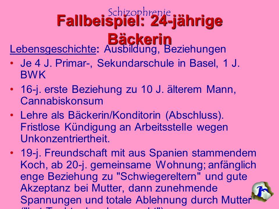 Schizophrenie 28 Lebensgeschichte: Ausbildung, Beziehungen Je 4 J. Primar-, Sekundarschule in Basel, 1 J. BWK 16-j. erste Beziehung zu 10 J. älterem M
