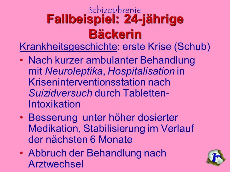 Schizophrenie 30 Krankheitsgeschichte: erste Krise (Schub) Nach kurzer ambulanter Behandlung mit Neuroleptika, Hospitalisation in Kriseninterventionss