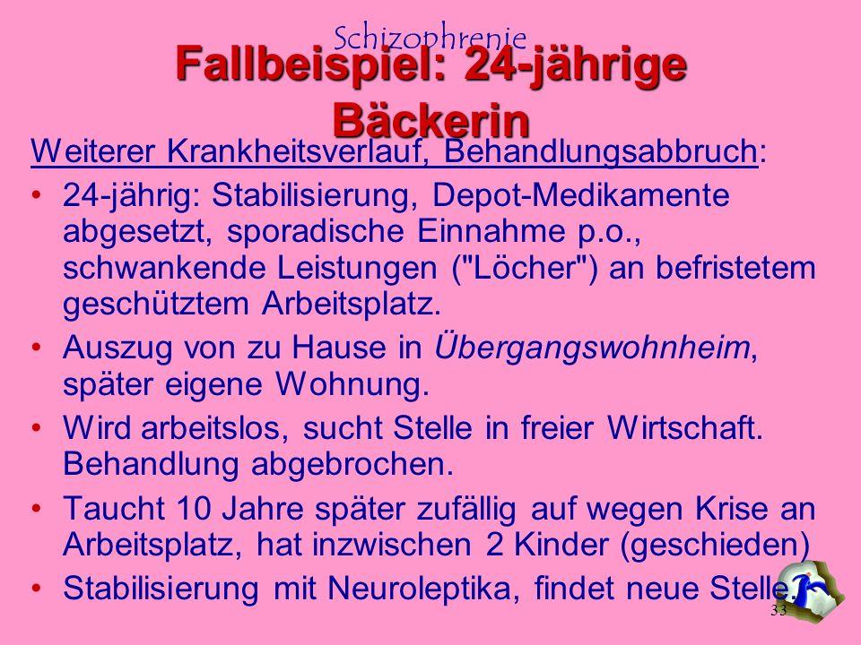 Schizophrenie 33 Weiterer Krankheitsverlauf, Behandlungsabbruch: 24-jährig: Stabilisierung, Depot-Medikamente abgesetzt, sporadische Einnahme p.o., sc