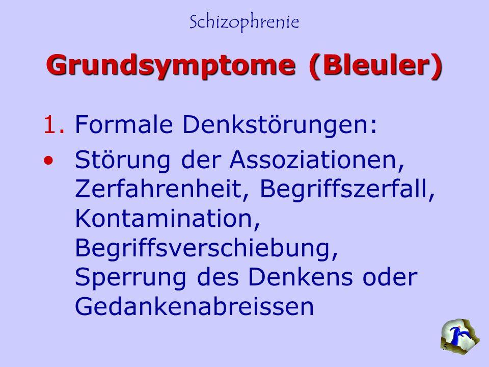 Schizophrenie 5 Grundsymptome (Bleuler) 1.Formale Denkstörungen: Störung der Assoziationen, Zerfahrenheit, Begriffszerfall, Kontamination, Begriffsver
