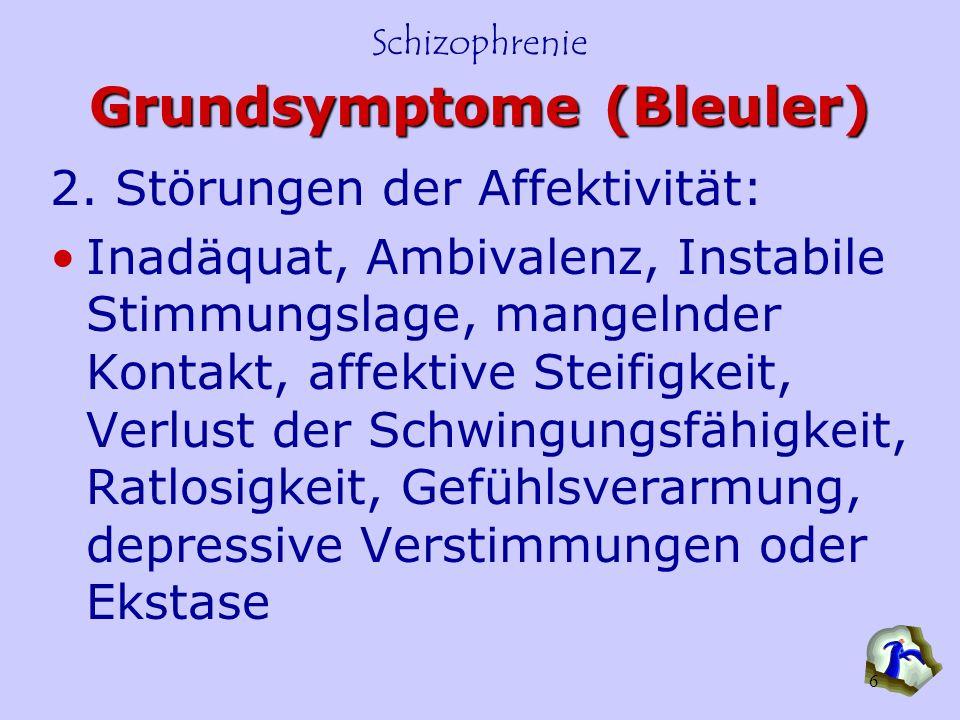 Schizophrenie 6 Grundsymptome (Bleuler) 2. Störungen der Affektivität: Inadäquat, Ambivalenz, Instabile Stimmungslage, mangelnder Kontakt, affektive S