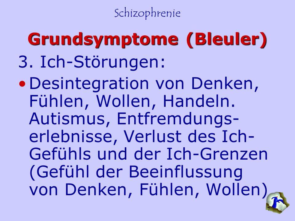 Schizophrenie 7 Grundsymptome (Bleuler) 3. Ich-Störungen: Desintegration von Denken, Fühlen, Wollen, Handeln. Autismus, Entfremdungs- erlebnisse, Verl