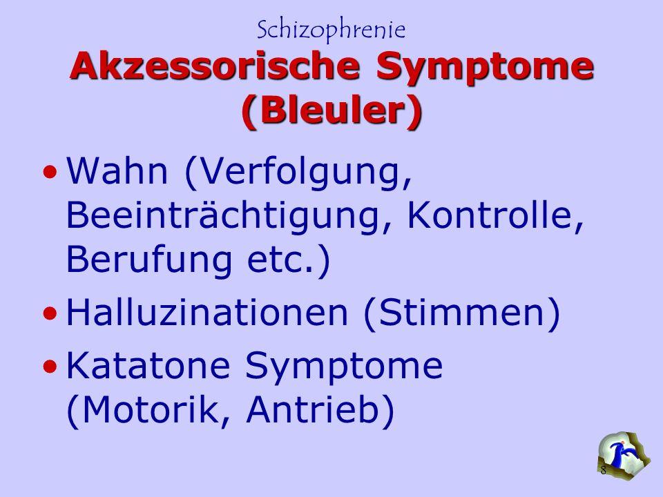 Schizophrenie 8 Akzessorische Symptome (Bleuler) Wahn (Verfolgung, Beeinträchtigung, Kontrolle, Berufung etc.) Halluzinationen (Stimmen) Katatone Symp