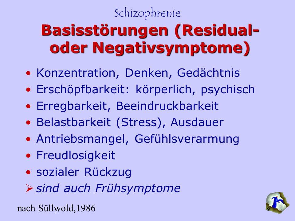 Schizophrenie 9 Basisstörungen (Residual- oder Negativsymptome) Konzentration, Denken, Gedächtnis Erschöpfbarkeit: körperlich, psychisch Erregbarkeit,