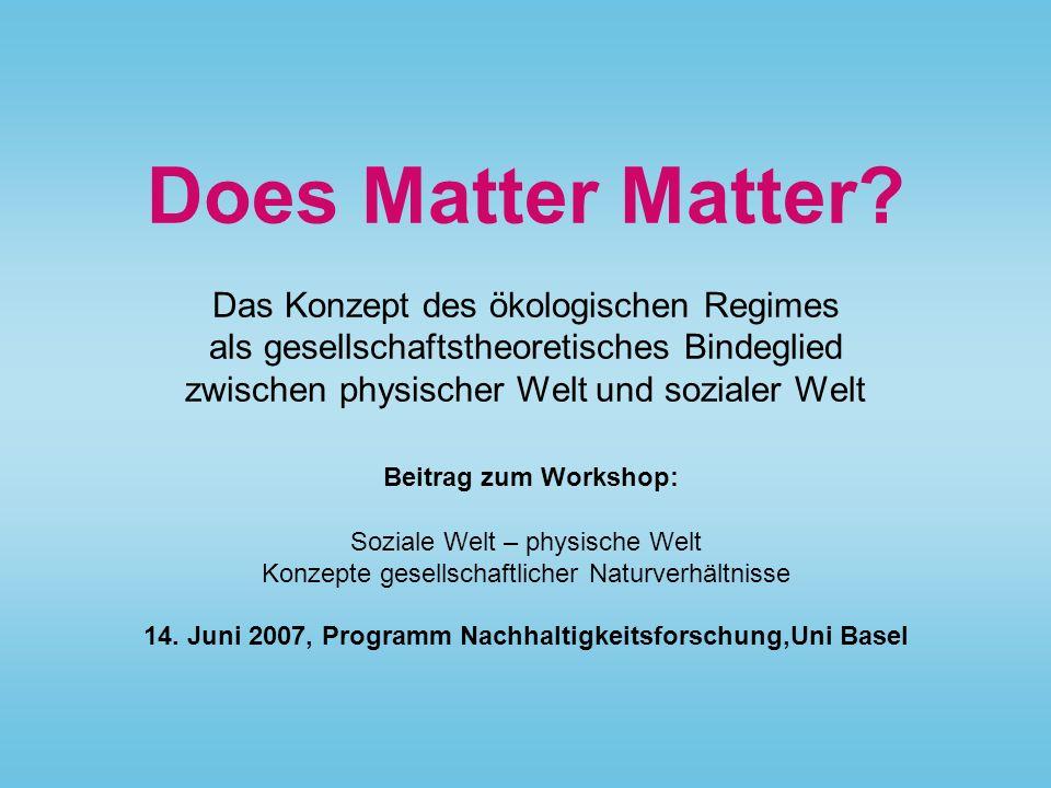 Does Matter Matter? Das Konzept des ökologischen Regimes als gesellschaftstheoretisches Bindeglied zwischen physischer Welt und sozialer Welt Beitrag