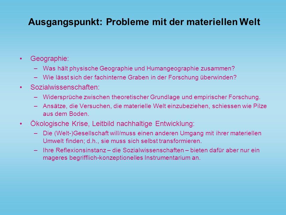 Ausgangspunkt: Probleme mit der materiellen Welt Geographie: –Was hält physische Geographie und Humangeographie zusammen? –Wie lässt sich der fachinte