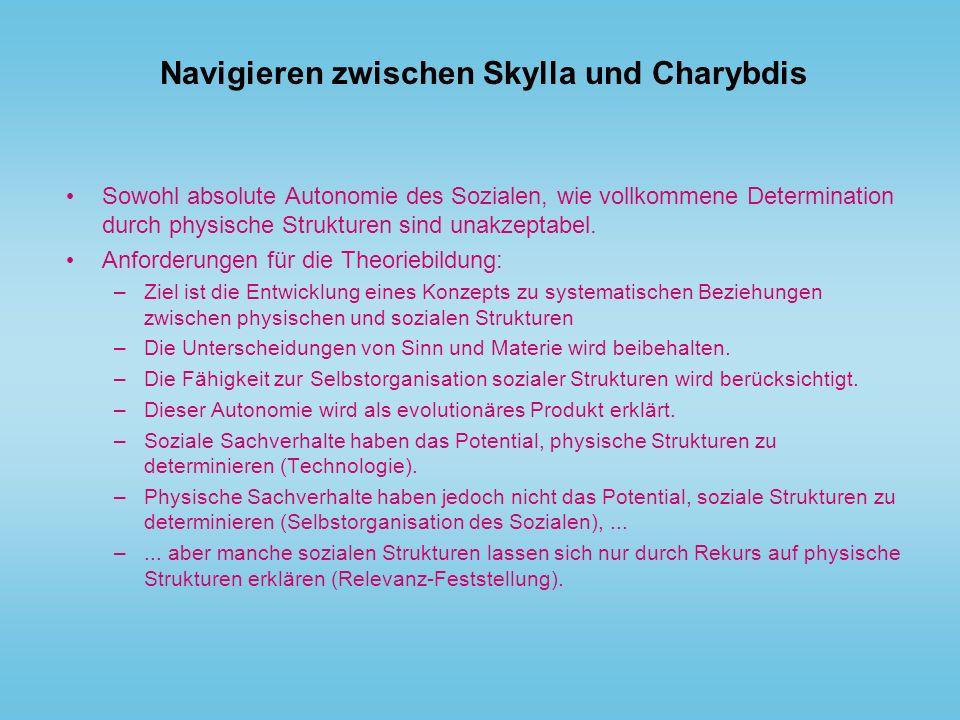 Navigieren zwischen Skylla und Charybdis Sowohl absolute Autonomie des Sozialen, wie vollkommene Determination durch physische Strukturen sind unakzep
