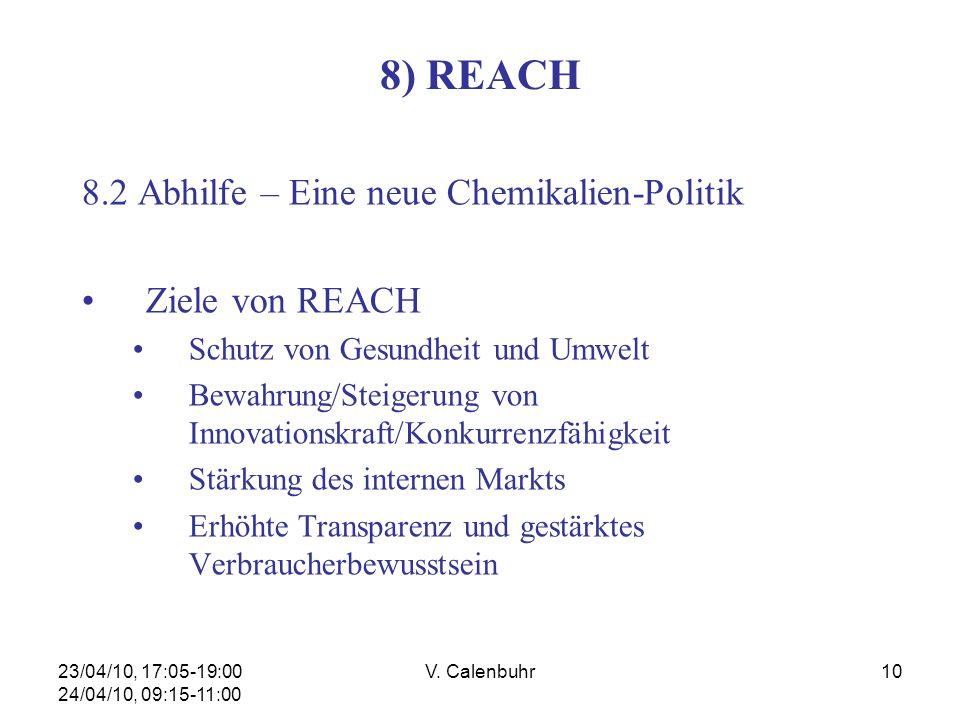23/04/10, 17:05-19:00 24/04/10, 09:15-11:00 V. Calenbuhr10 8) REACH 8.2 Abhilfe – Eine neue Chemikalien-Politik Ziele von REACH Schutz von Gesundheit