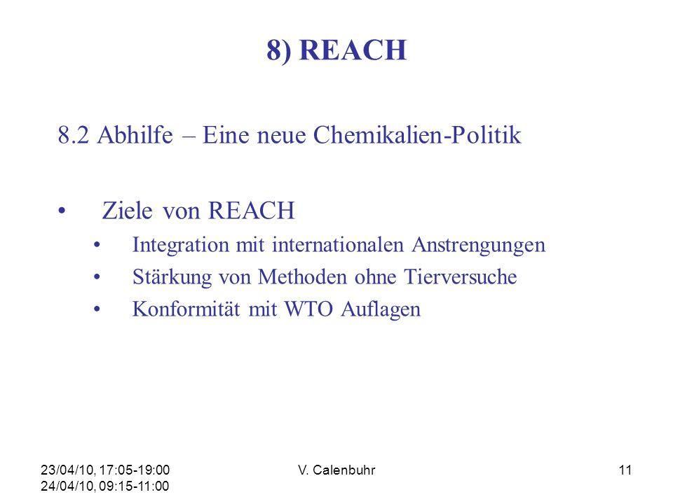23/04/10, 17:05-19:00 24/04/10, 09:15-11:00 V. Calenbuhr11 8) REACH 8.2 Abhilfe – Eine neue Chemikalien-Politik Ziele von REACH Integration mit intern