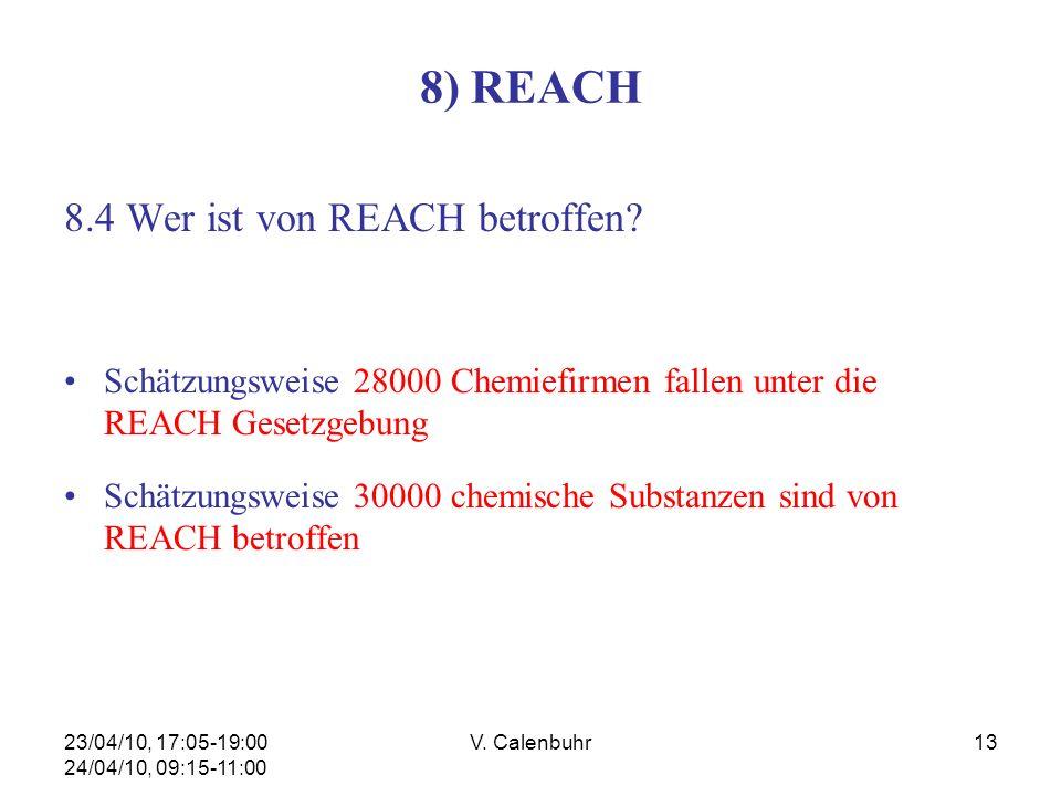 23/04/10, 17:05-19:00 24/04/10, 09:15-11:00 V. Calenbuhr13 8) REACH 8.4 Wer ist von REACH betroffen? Schätzungsweise 28000 Chemiefirmen fallen unter d