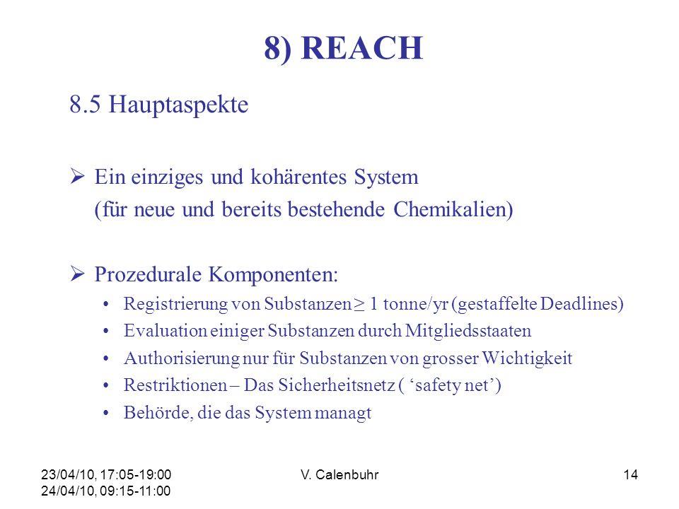 23/04/10, 17:05-19:00 24/04/10, 09:15-11:00 V. Calenbuhr14 8) REACH 8.5 Hauptaspekte Ein einziges und kohärentes System (für neue und bereits bestehen