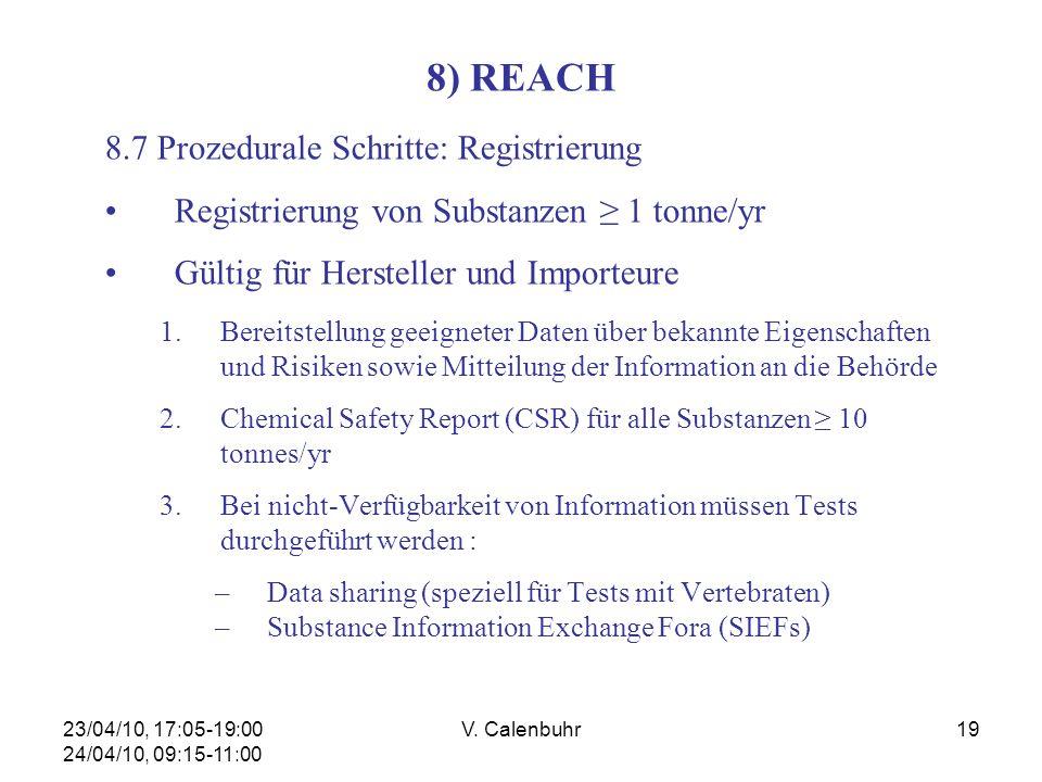 23/04/10, 17:05-19:00 24/04/10, 09:15-11:00 V. Calenbuhr19 8) REACH 8.7 Prozedurale Schritte: Registrierung Registrierung von Substanzen 1 tonne/yr Gü