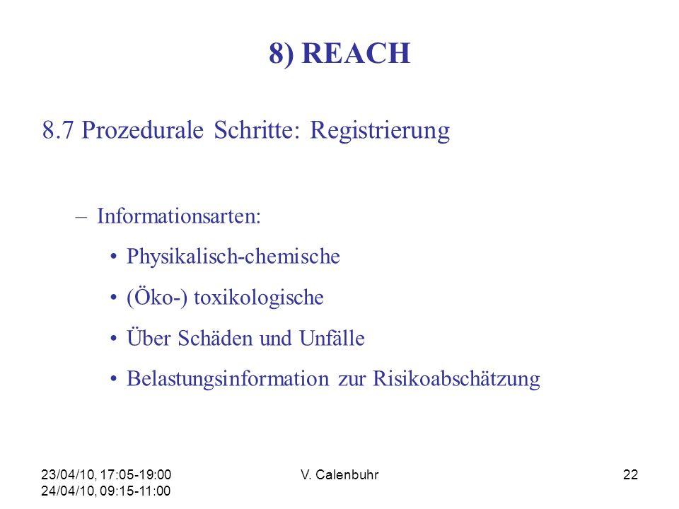 23/04/10, 17:05-19:00 24/04/10, 09:15-11:00 V. Calenbuhr22 8) REACH 8.7 Prozedurale Schritte: Registrierung –Informationsarten: Physikalisch-chemische