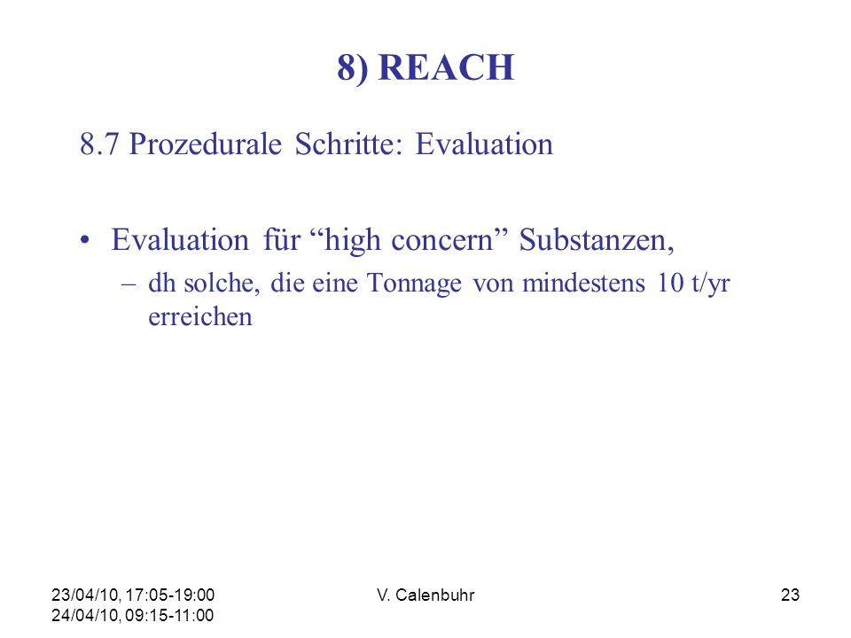 23/04/10, 17:05-19:00 24/04/10, 09:15-11:00 V. Calenbuhr23 8) REACH 8.7 Prozedurale Schritte: Evaluation Evaluation für high concern Substanzen, –dh s