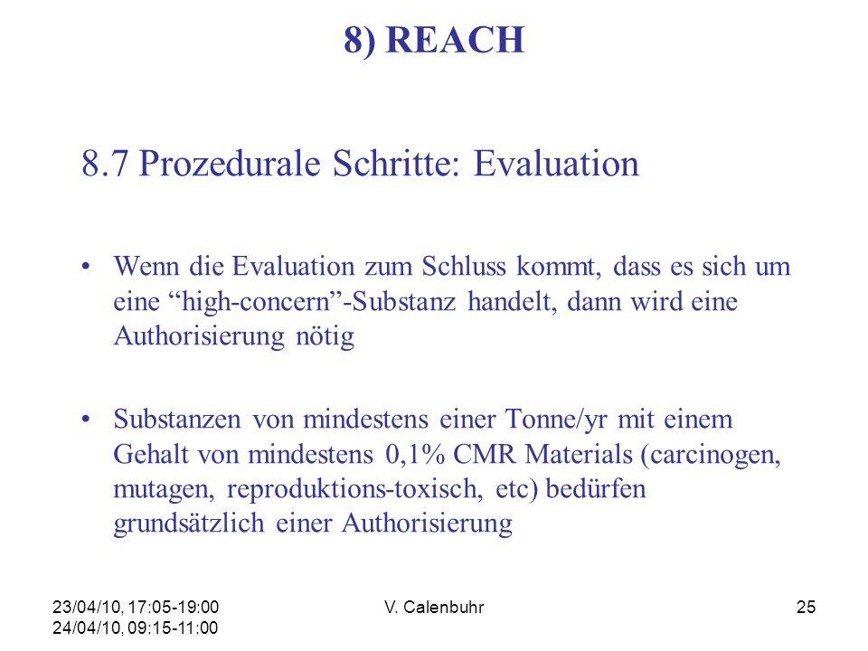 23/04/10, 17:05-19:00 24/04/10, 09:15-11:00 V. Calenbuhr25 8) REACH 8.7 Prozedurale Schritte: Evaluation Wenn die Evaluation zum Schluss kommt, dass e