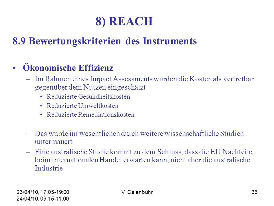 23/04/10, 17:05-19:00 24/04/10, 09:15-11:00 V. Calenbuhr35 8) REACH 8.9 Bewertungskriterien des Instruments Ökonomische Effizienz –Im Rahmen eines Imp